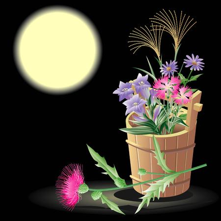 pail: Autumn flower pail Stock Photo