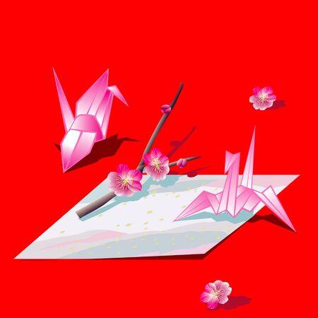 a sprig: Sprig of paper cranes and plum