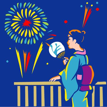 yukata: Fireworks tour in clothes stand