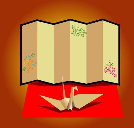 screen: Paper cranes and folding screen