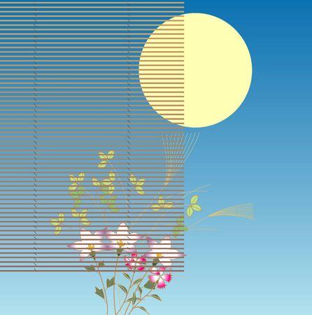 harvest moon: Mid-Autumn harvest moon and Akikusa
