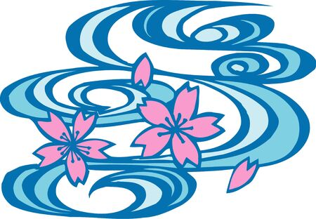 water flow: Sakura and water flow Stock Photo