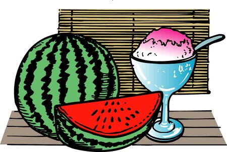 snow cone: Watermelon, shaved ice