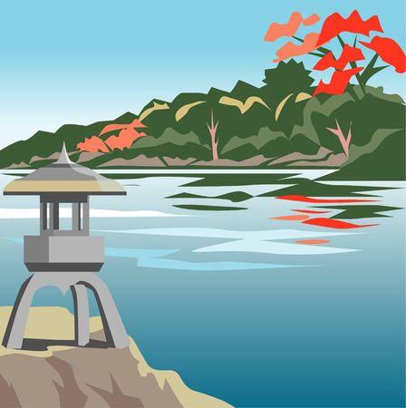 japanese garden: Autumn Japanese garden Stock Photo