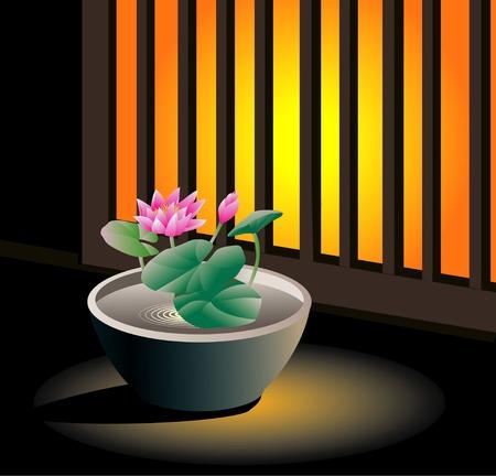 windowsill: Windowsill of water lily Stock Photo