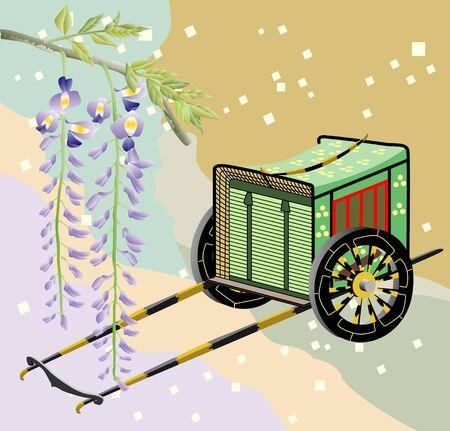 Ox-drawn carriage and Fuji Stock Photo