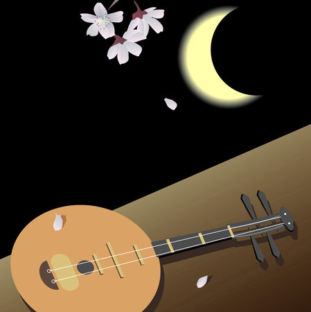 crescent moon: Crescent moon and the moon guitar