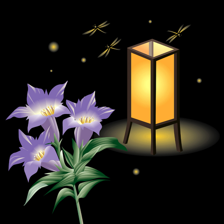 gentian flower: Gentian and lantern