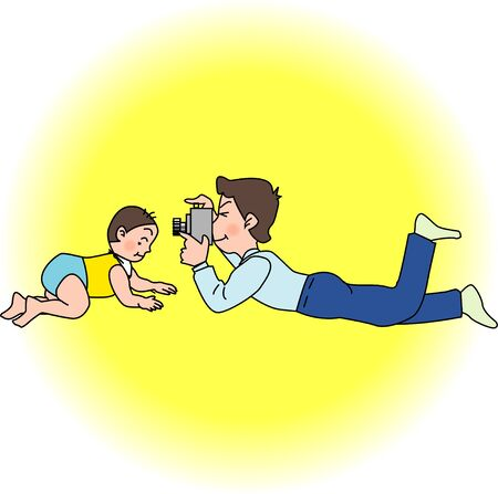 asian family: Father and child