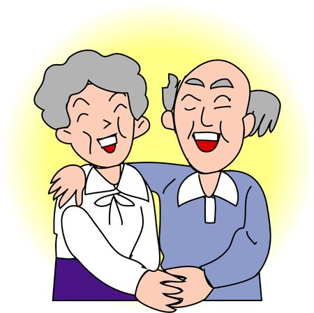 older woman smiling: The old couple Stock Photo