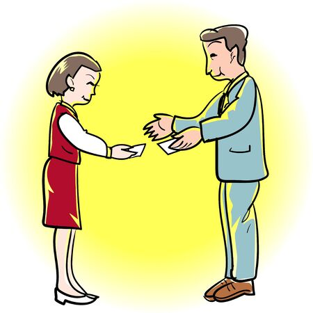 asian business meeting: Business card Exchange
