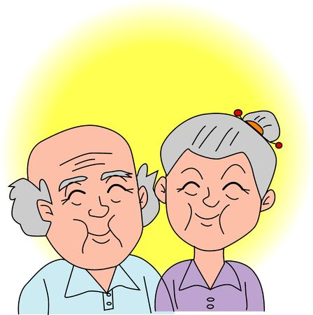 laughing face: The old couple Stock Photo