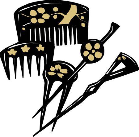 kanzashi: Comb hairpin