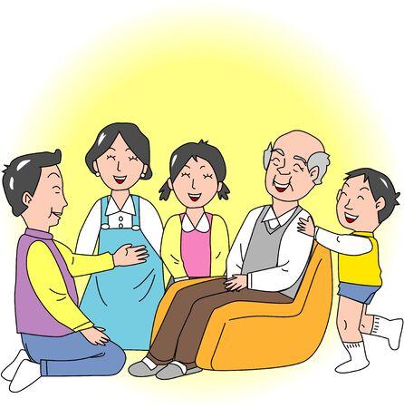three generations: Three-generation family Stock Photo