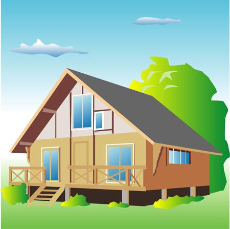 residency: Log cabin Stock Photo