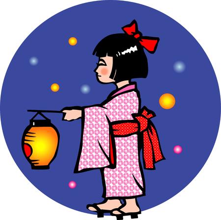 yukata: Chinese lanterns