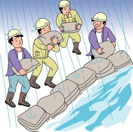 disaster prevention: Sandbags stacked
