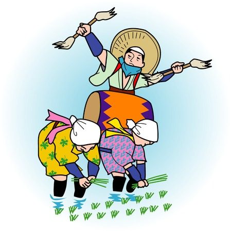 planting: Mibu flower rice planting Stock Photo
