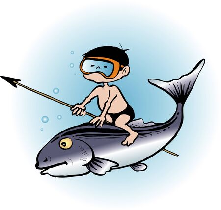 魚と少年 写真素材