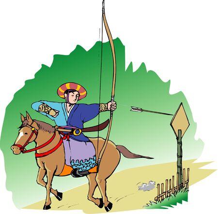 Horseback archery Stock Photo