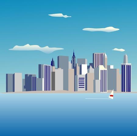 points of interest: Manhattan Island Stock Photo