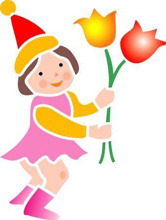 花と妖精 写真素材
