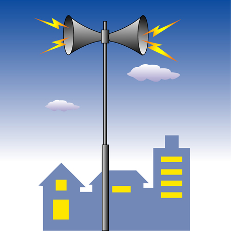 tremor: Disaster prevention broadcasting Stock Photo