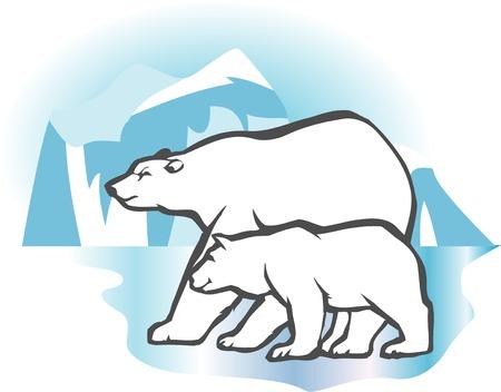 mammalian: Polar Bear parent and child