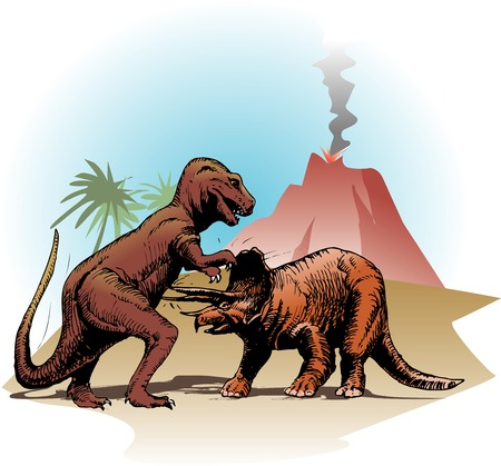 Battle of dinosaur Stock Photo
