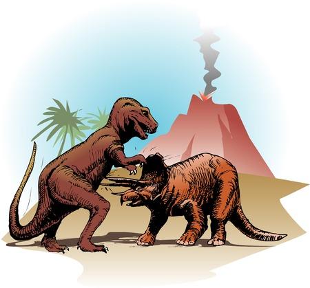 Battle of dinosaur Banco de Imagens