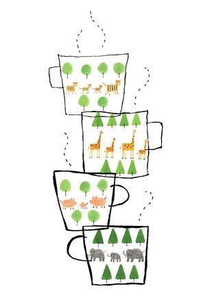 動物パターンのマグカップ