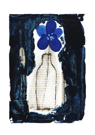 miscellaneous goods: Bottles and blue flower Stock Photo