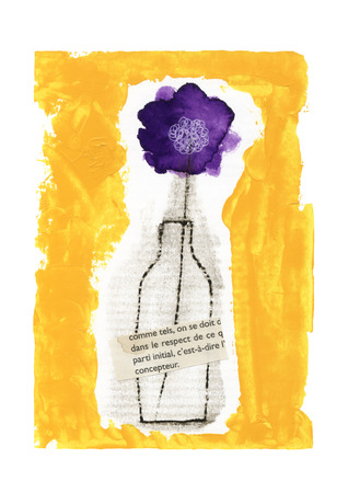 miscellaneous goods: Bottle and purple flowers