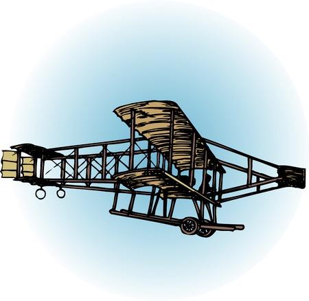 Henri folder Man biplane Stock Photo
