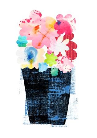 flowerpots: Black pot of flowers