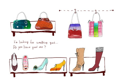 ladies shoes: Shoes and bag Stock Photo