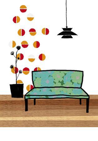 shop floor: Floral sofa Stock Photo