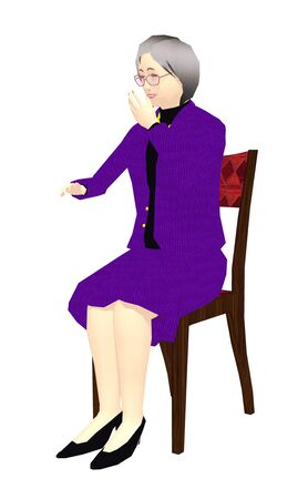 Lady chair sit smile