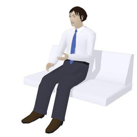 男性はソファに座る
