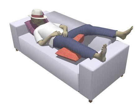 siesta: Man to nap on the sofa