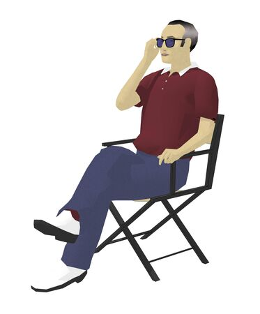 Men sit in the director chair 写真素材