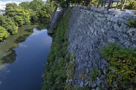 iga: Japan high stone wall that remains in Ueno Castle Ruins of Todo Takatora Stock Photo