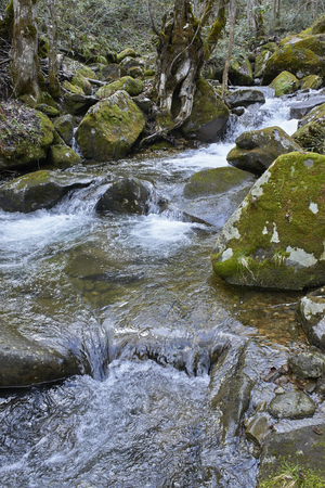 thaw: Early spring thaw water in the mountain stream Stock Photo