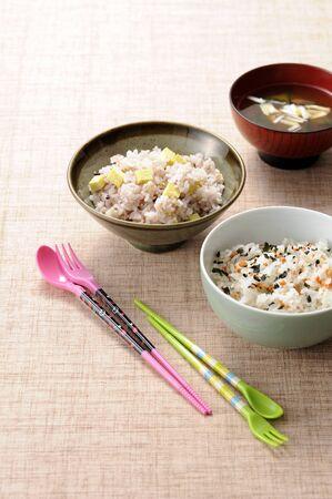 chopsticks: Rice and chopsticks Stock Photo