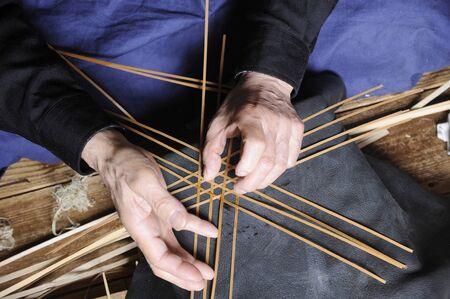 craftsman: artesano de bambú Foto de archivo