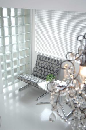 sofa: Chandelier and sofa
