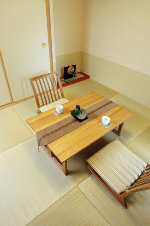 legless: Seat table with Japanese-style room Stock Photo