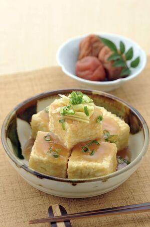 梅ソースを揚げ豆腐 写真素材