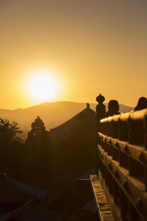 cultural artifacts: Sunset from Todaiji February Hall Stock Photo