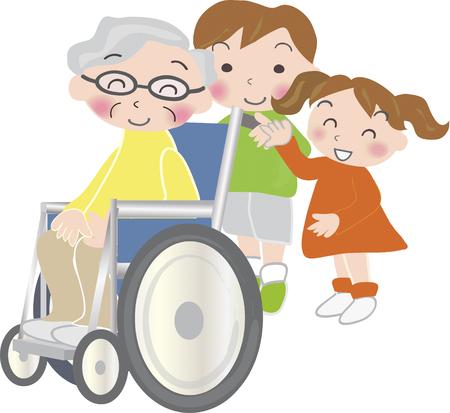 grandchildren: Old man was riding on the grandchildren and wheelchair Stock Photo